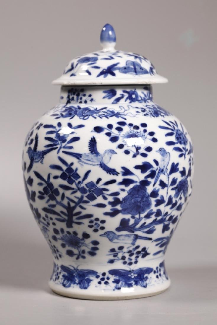 Chinese Qing Blue & White Porcelain Jar & Cover