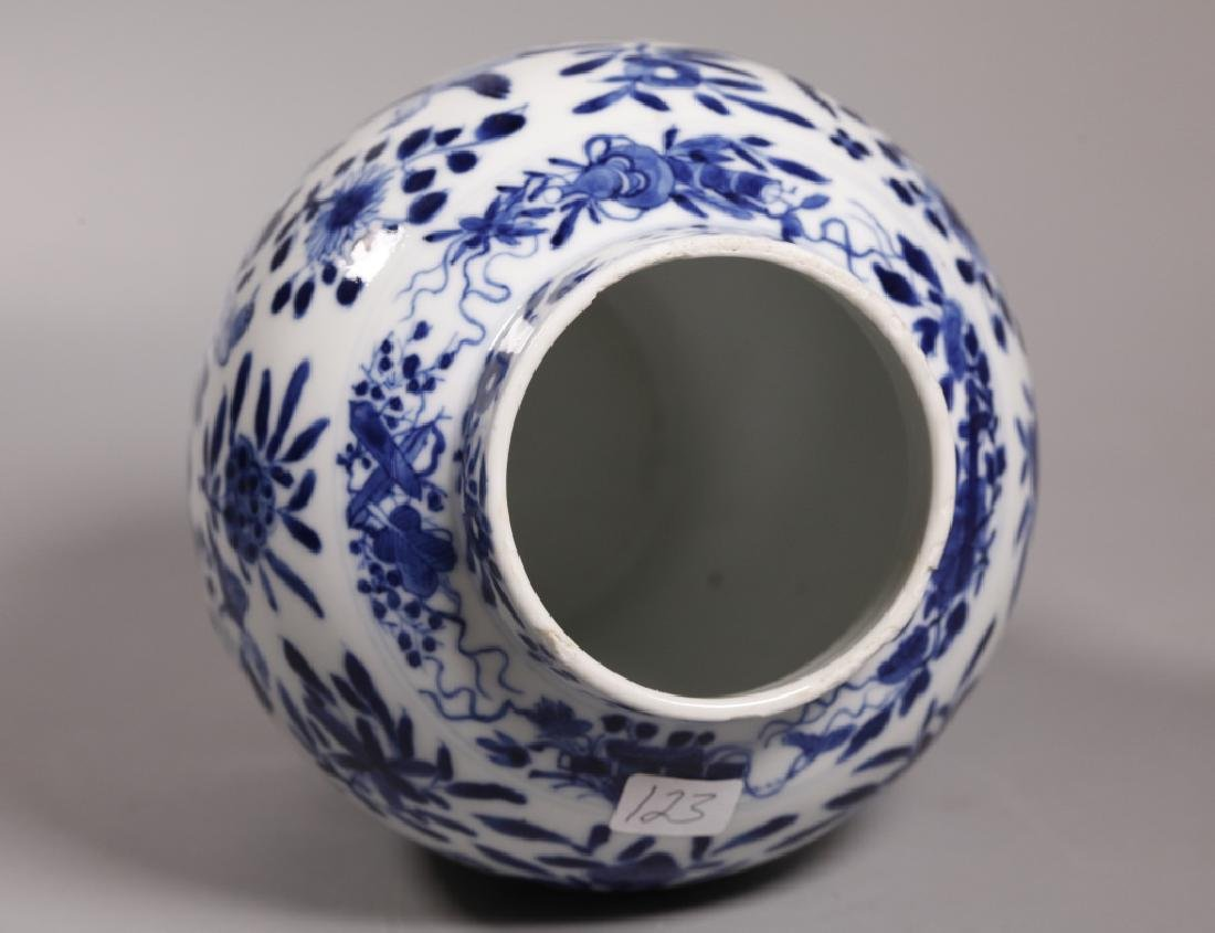 Chinese Qing Blue & White Porcelain Jar & Cover - 3
