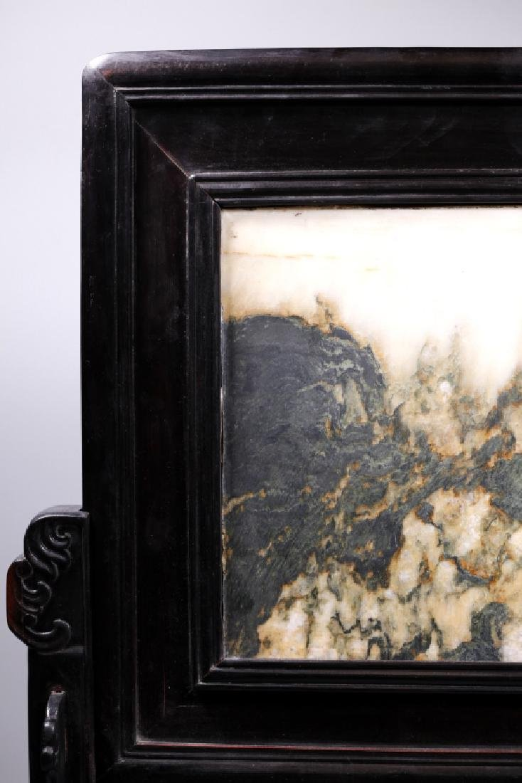 Chinese Dream Stone Inlaid Horizontal Table Screen - 5