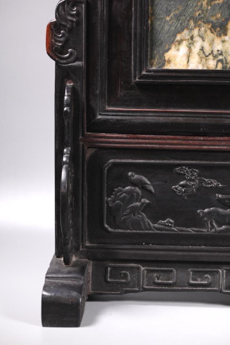 Chinese Dream Stone Inlaid Horizontal Table Screen - 8