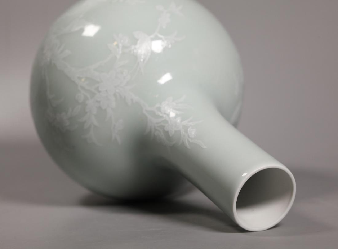 Chinese Pale Celadon Porcelain Vase White Slip - 3