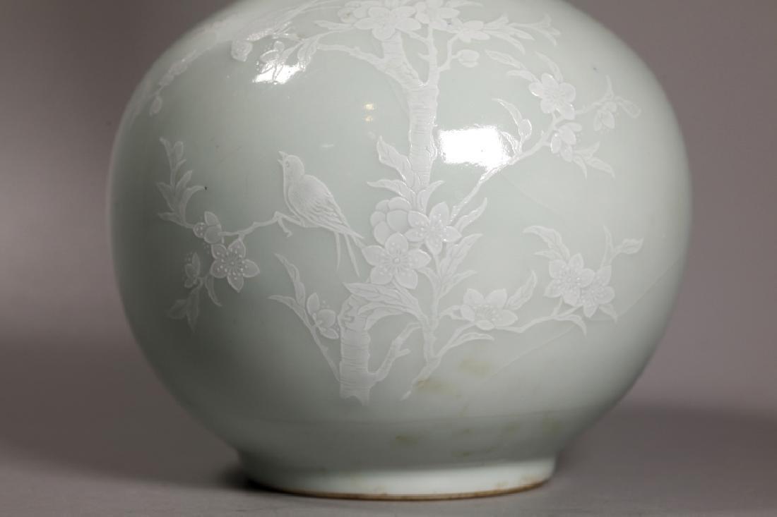 Chinese Pale Celadon Porcelain Vase White Slip - 7