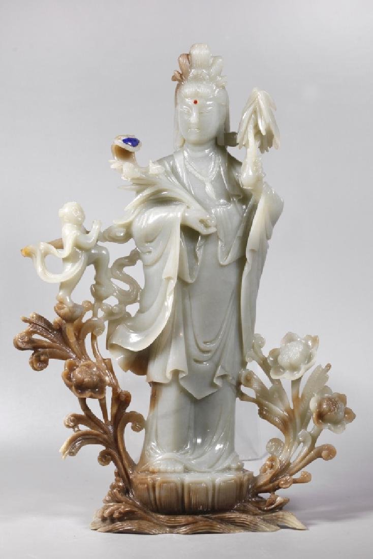 Large Chinese Carved Jade Guanyin
