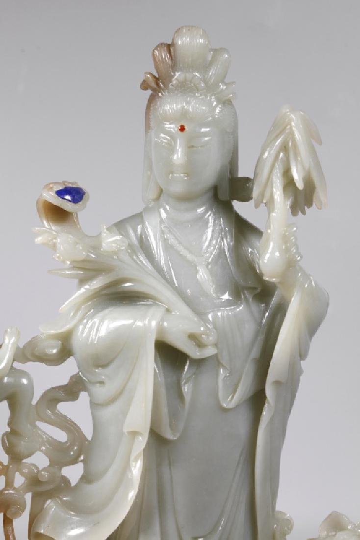 Large Chinese Carved Jade Guanyin - 2