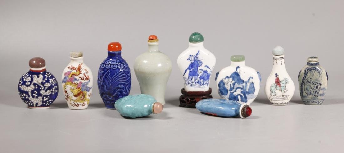 10 Antique Chinese Porcelain Snuff Bottles