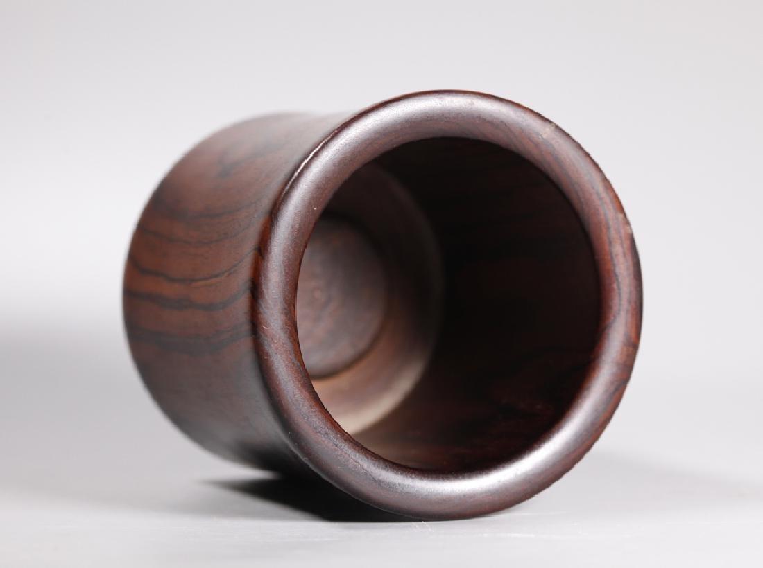 Chinese Figured Hardwood Brush Pot Bitong - 3