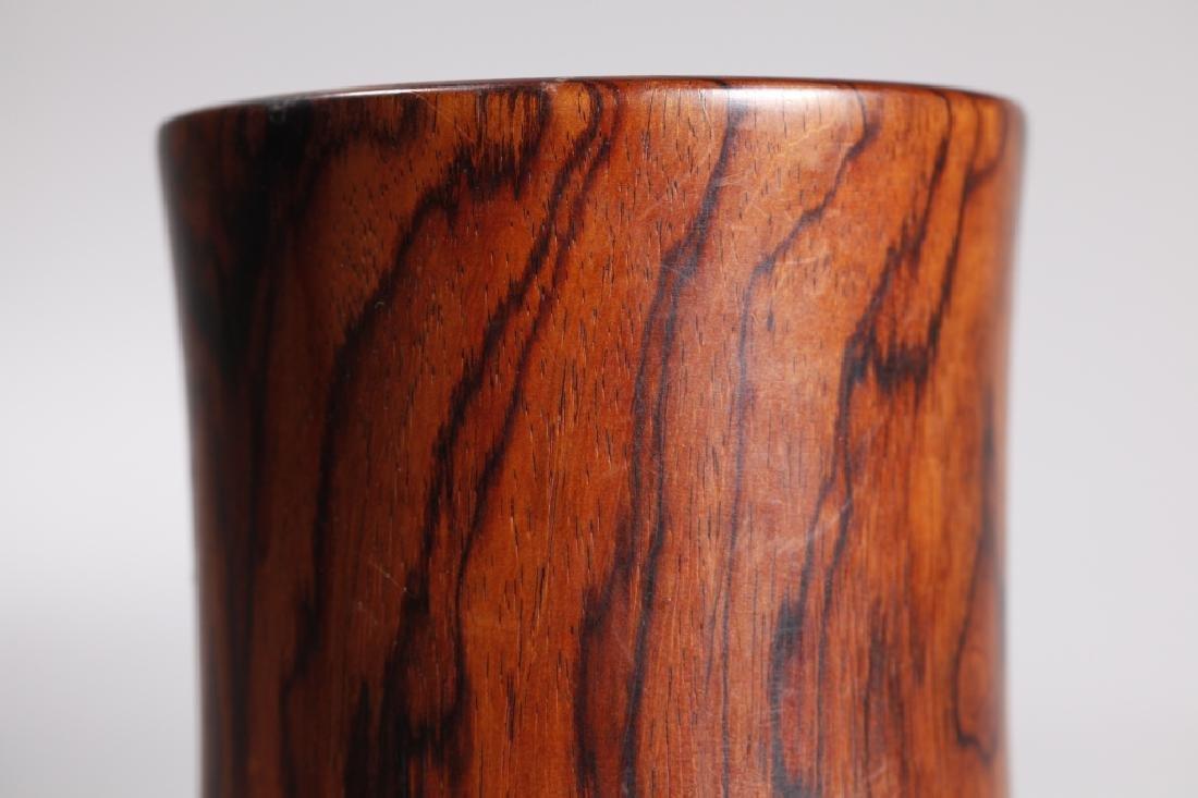 Chinese Figured Hardwood Brush Pot Bitong - 5
