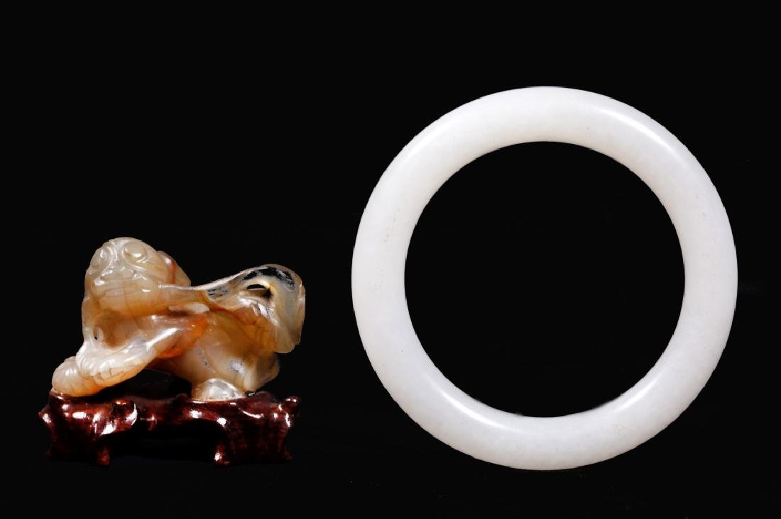 Chinese Qing White Jade Bangle; Carved Agate Dog