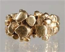 Mid Century Modern 14K Yellow Gold Nugget Ring