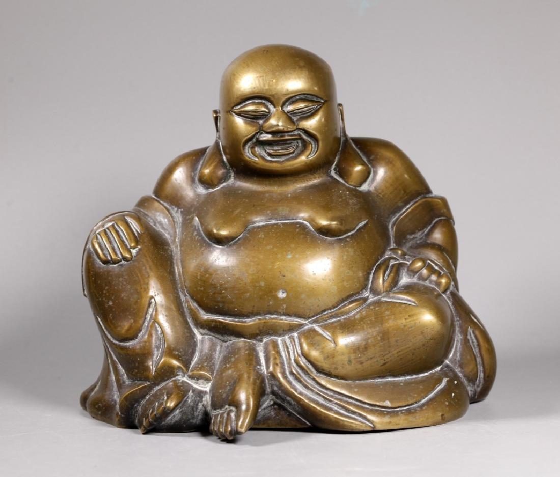 Chinese Bronze Seated Budai Buddha Figure