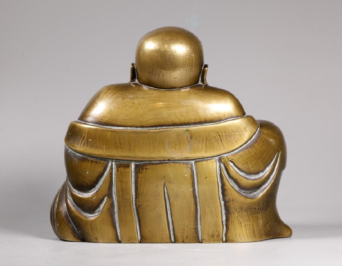 Chinese Bronze Seated Budai Buddha Figure - 2