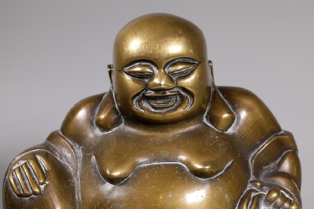 Chinese Bronze Seated Budai Buddha Figure - 4
