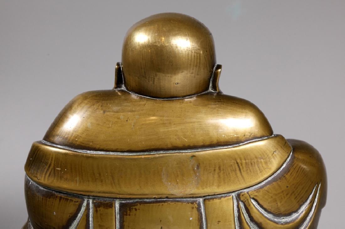 Chinese Bronze Seated Budai Buddha Figure - 6