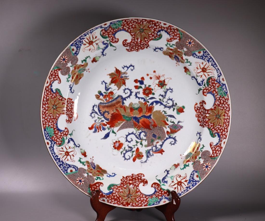 """Chinese 18 C Famille Verte 16 3/8"""" Porcelain Plate"""