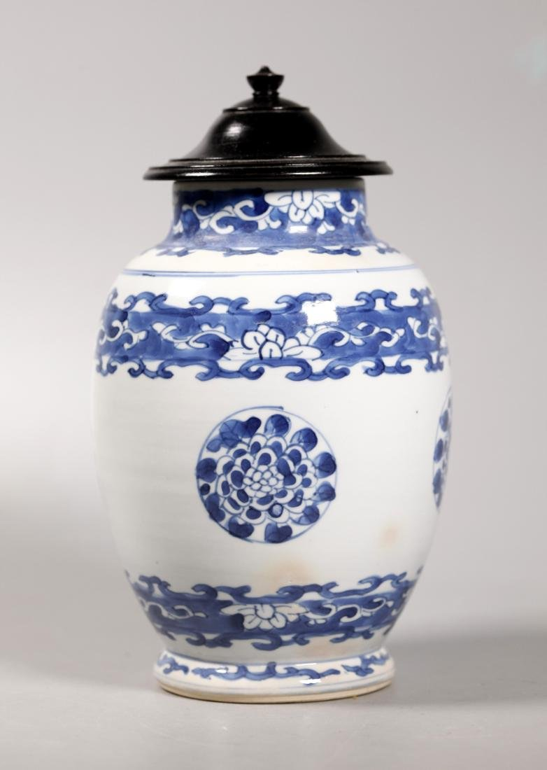 Chinese Kangxi ca 1700 Blue & White Porcelain Jar