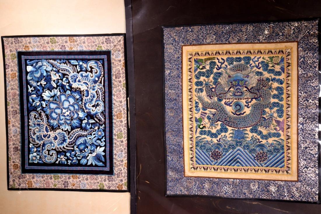 2 Chinese Qing Dynasty Silks; Dragon & Butterflies