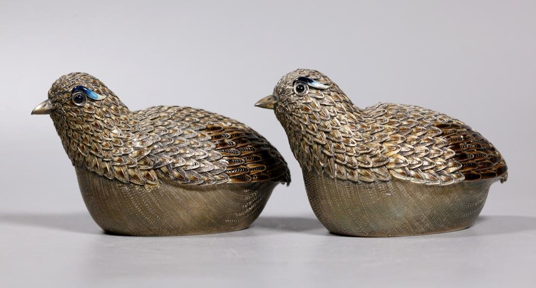 Pair Chinese Gilt Silver & Enamel Quail Boxes