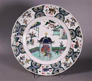 Chinese Kangxi Wucai Porcelain Arrival Charger