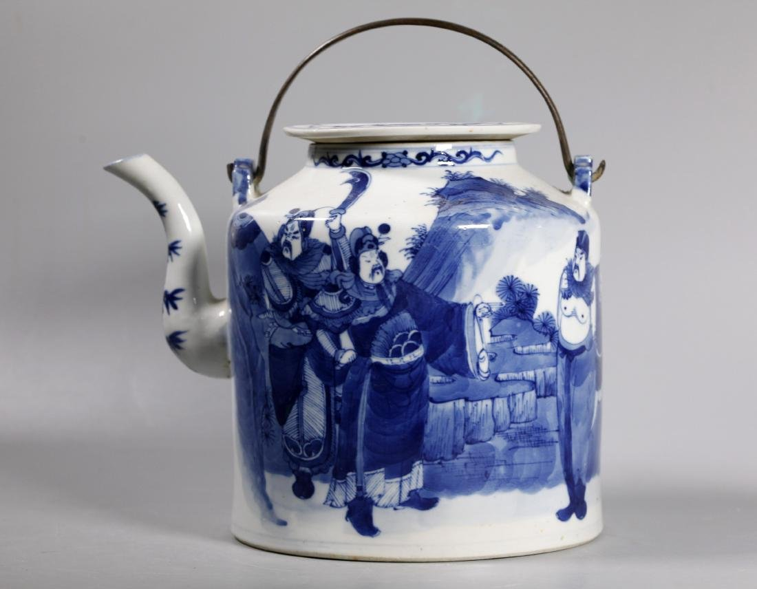 Large Chinese Blue & White Porcelain Teapot