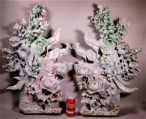 Pair Mammoth Chinese Carved Jadeite Mountains