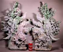Pair Mammoth Chinese Carved Jadeite Mountains