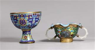 2 Chinese Qing Cloisonne Stem Cup; Jade Handle Cup