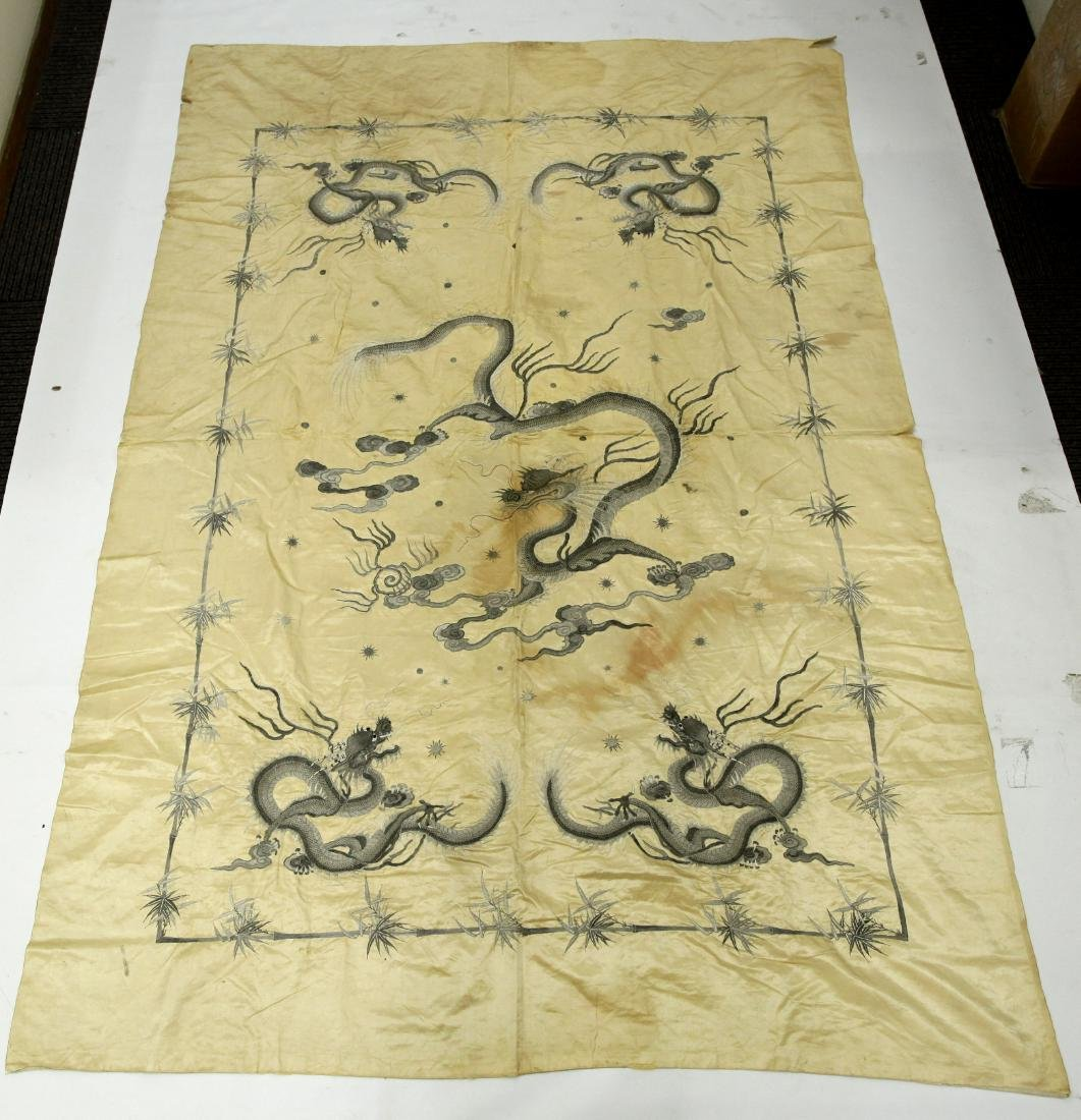 Chinese Qing Embroidered Silk 5 Dragon Panel