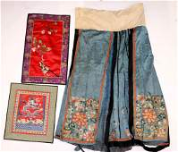 3 Chinese Antique Silk Embroideries Skirt  Panels