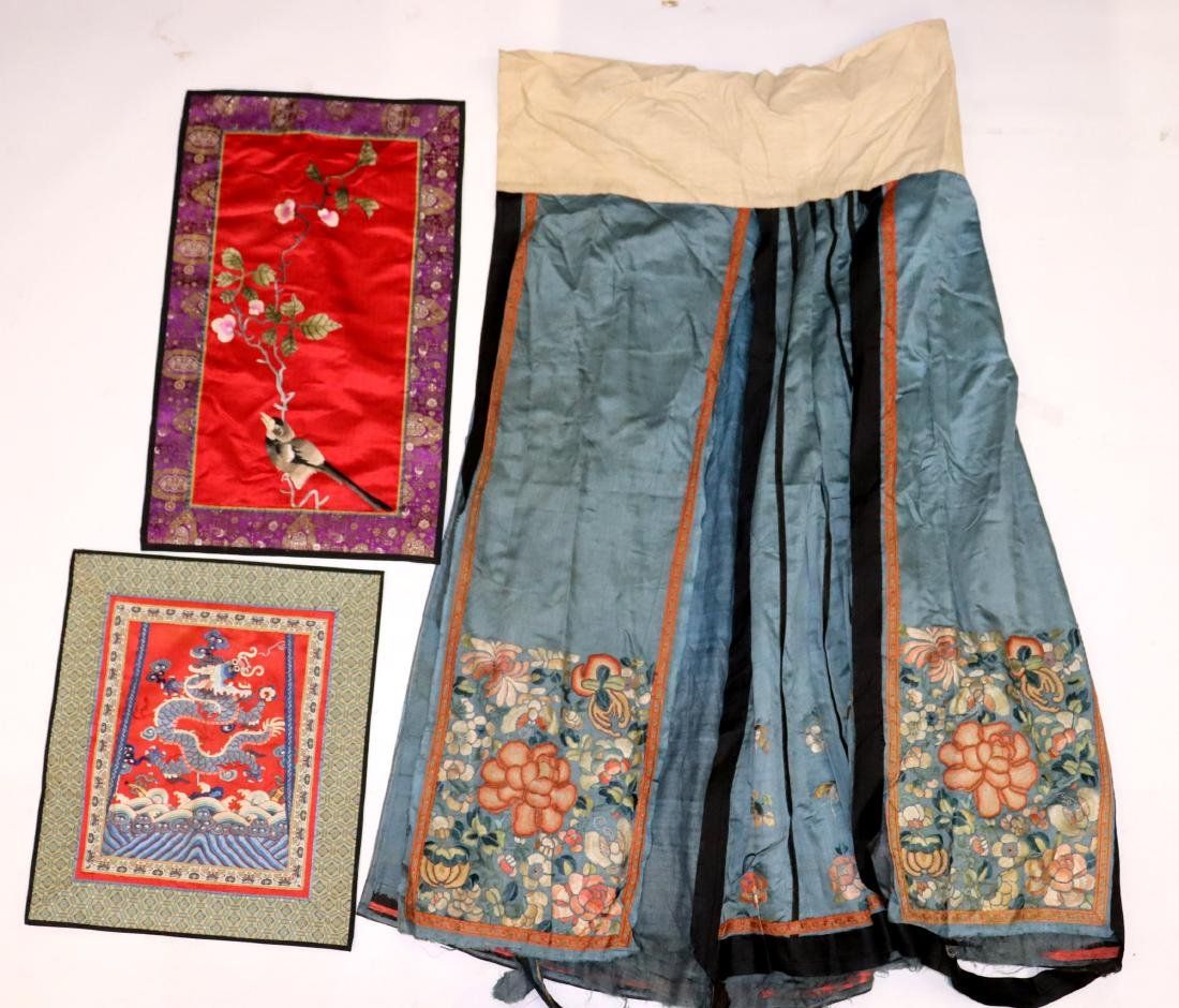 3 Chinese Antique Silk Embroideries Skirt & Panels