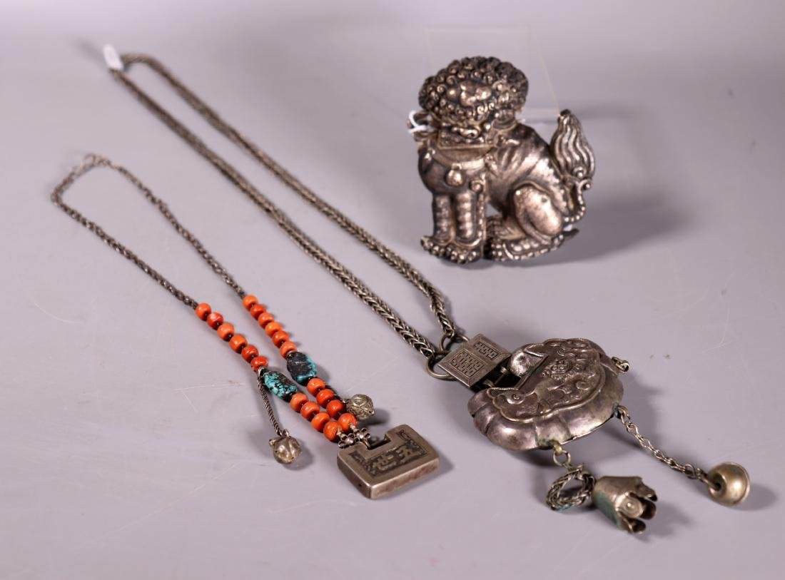 3 Chinese 19 C Silver Pieces; 2 Necklaces, 1 Dog