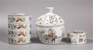 3 Chinese 19 C Enameled Porcelain Boxes & Covers