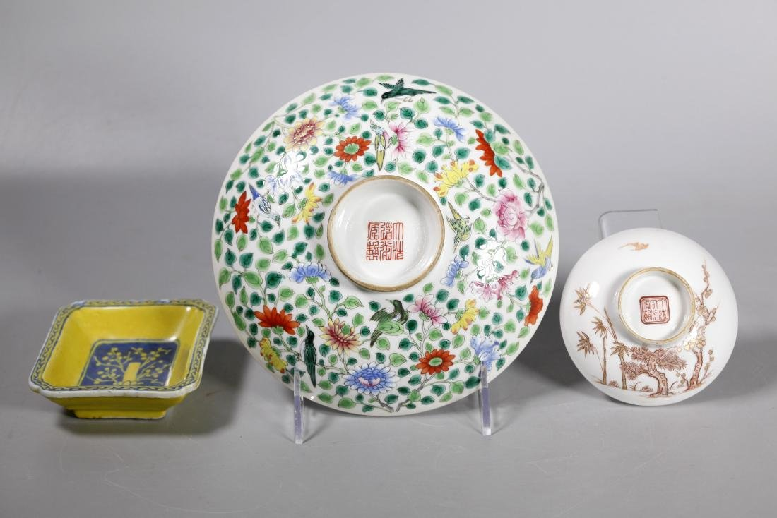2 Chinese Qing Porcelain Round Covers; Dish