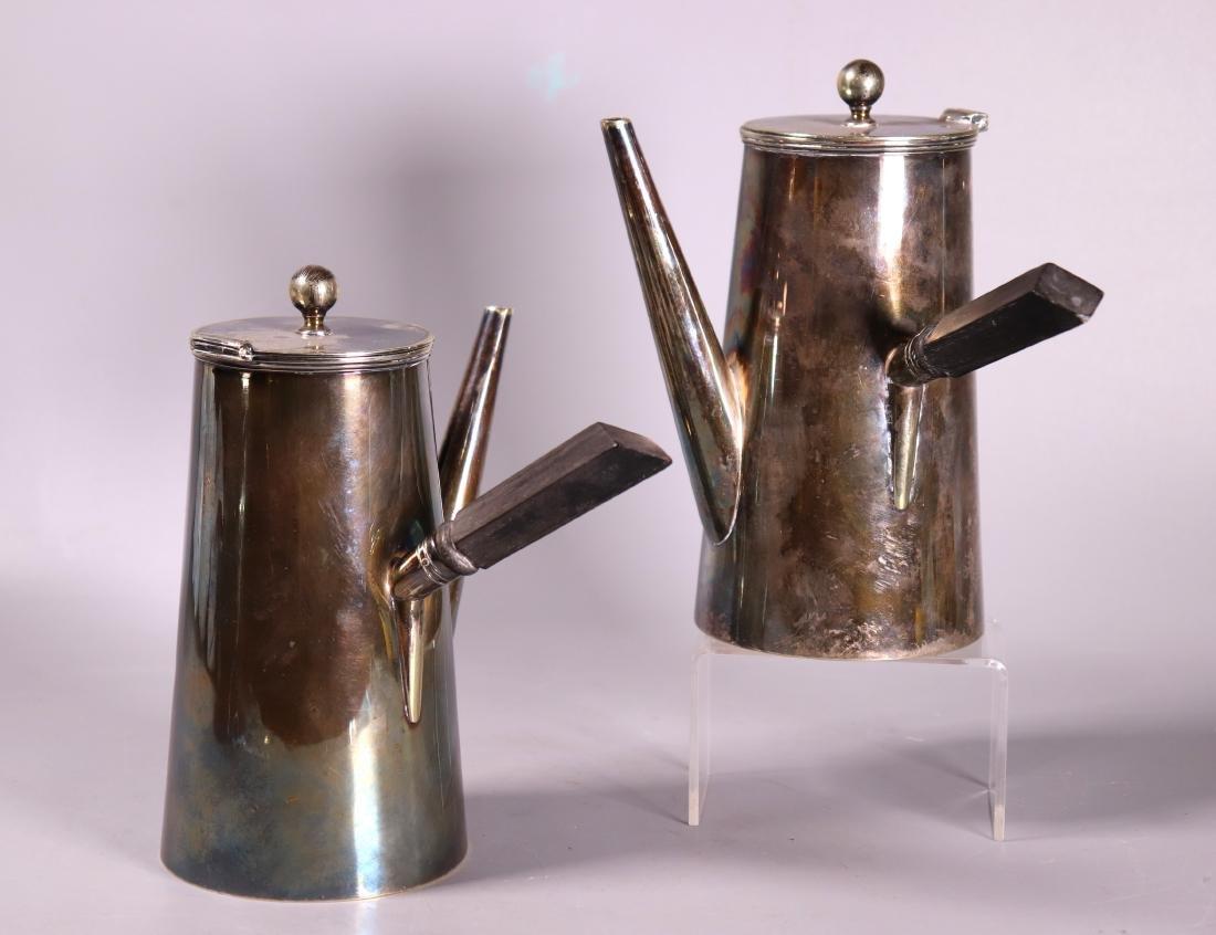 Pr Mid-Century Modern Teapots Silver over Nickel