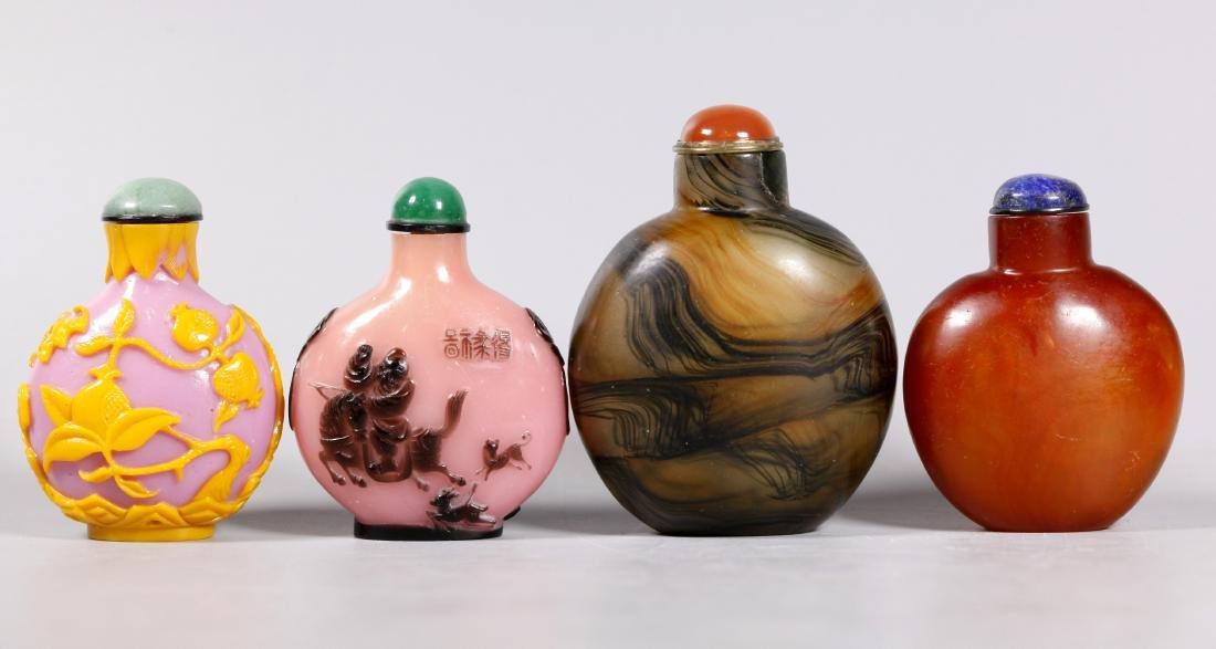 4 Chinese 19/20 C Peking Glass Snuff Bottles