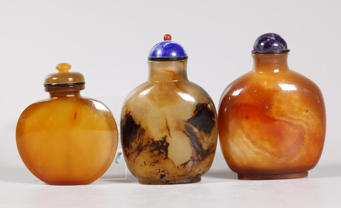 3 Chinese 19 C Polished Agate Snuff Bottles