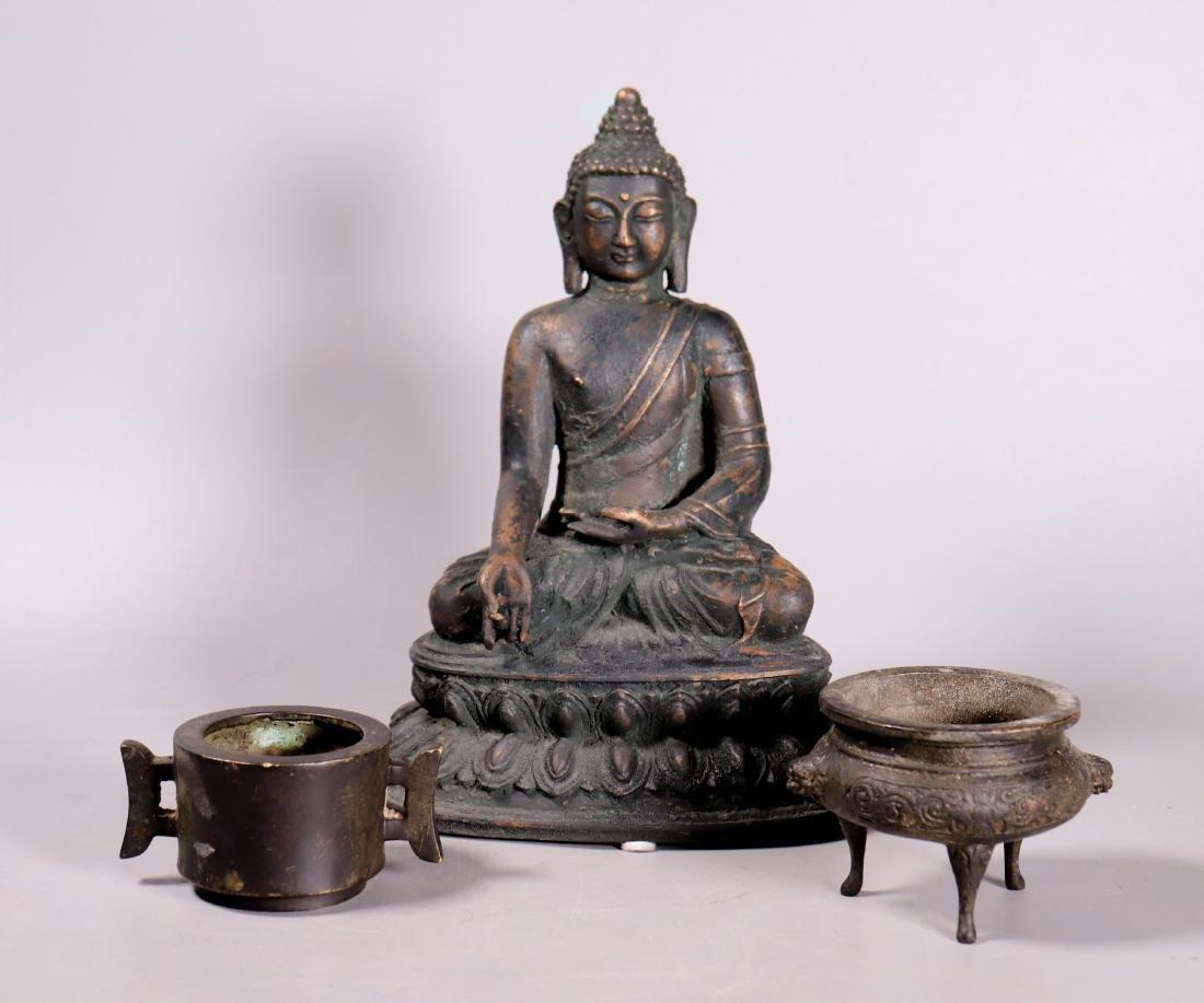 Tibet Bronze Buddha; 2 Chinese Bronze Censers