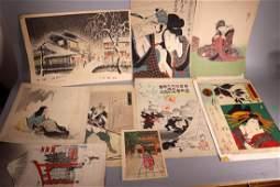 9 Japanese Woodblock Prints