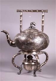 Lg HK Chinese 19 C Silver Water Pot & Burner