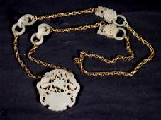 Chinese 19 C White Jade Plaque 4 Earrings 14K Gold