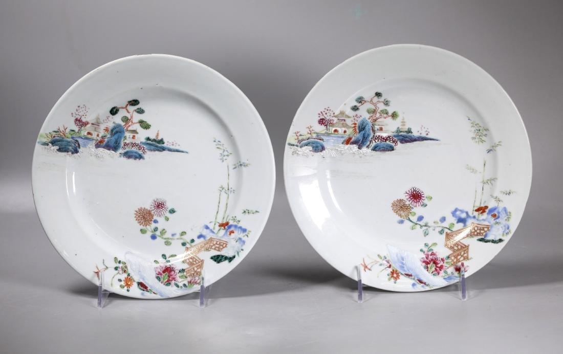 Pr Chinese 18C Enameled Landscape Porcelain Plates