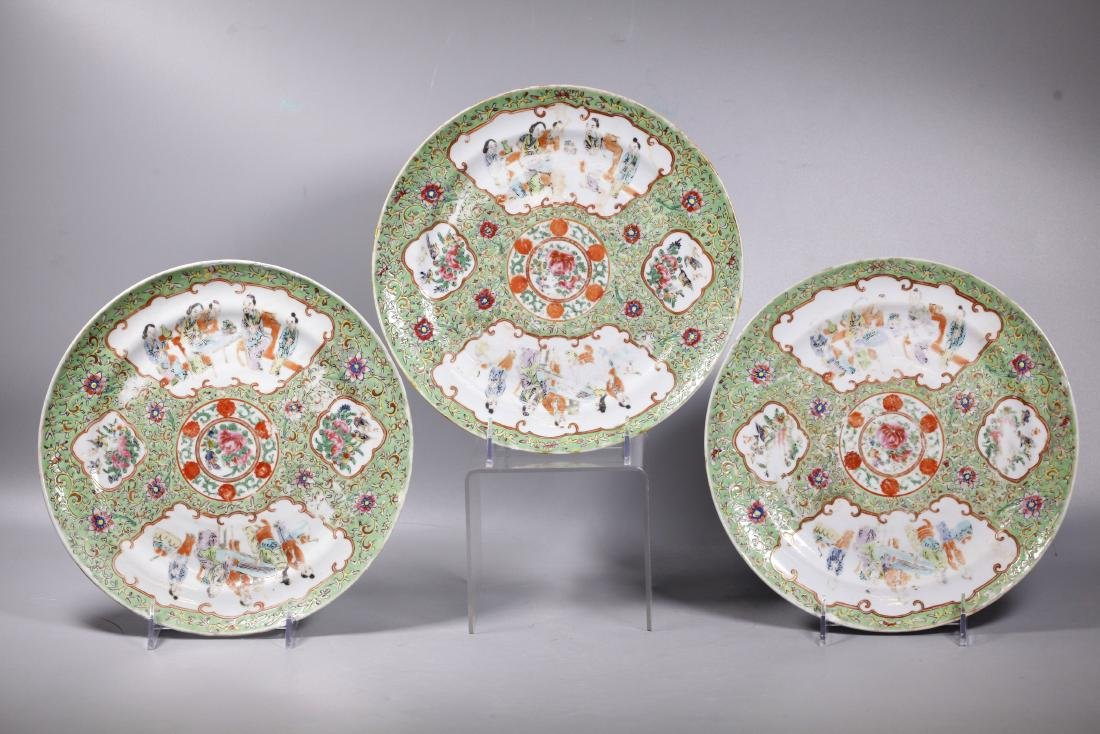 3 Chinese 19 C Lime Green Ground Porcelain Plates