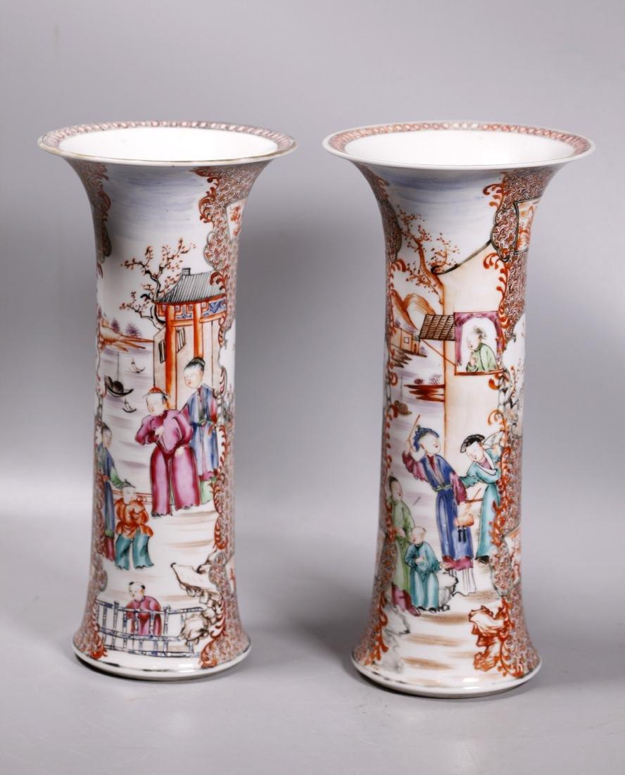 Pair Chinese 18 C Mandarin Figure Porcelain Vases