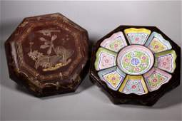 Chinese Qing Canton Enamel Sweet Set Lacquer Box