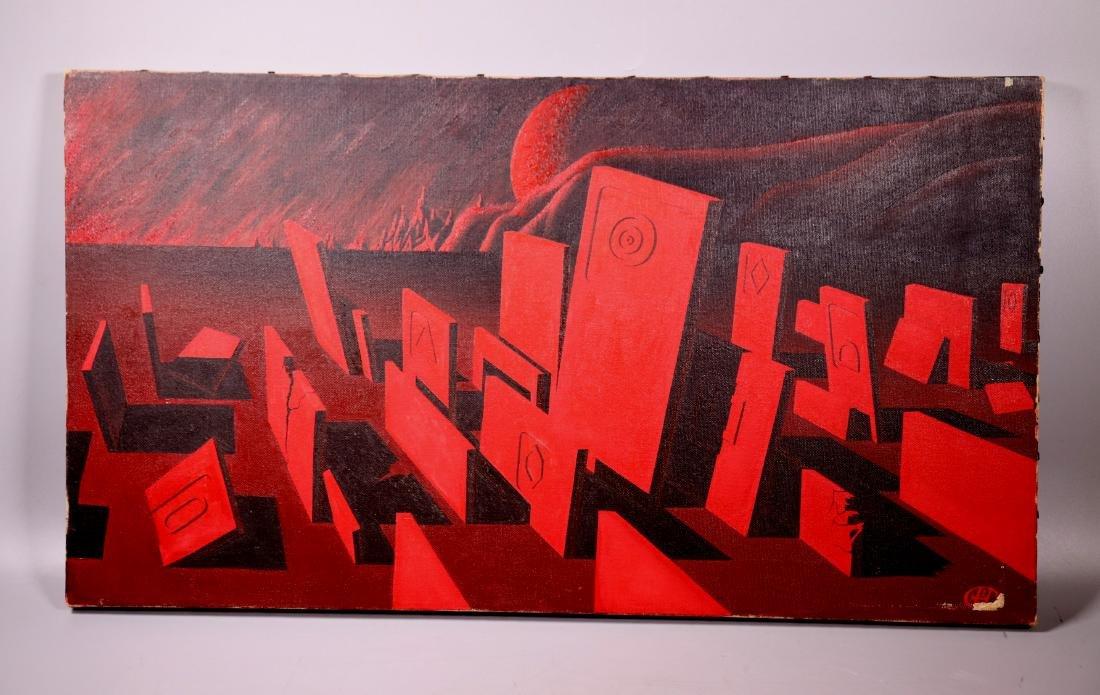 Red Surrealist Landscape Oil Canvas; Signed