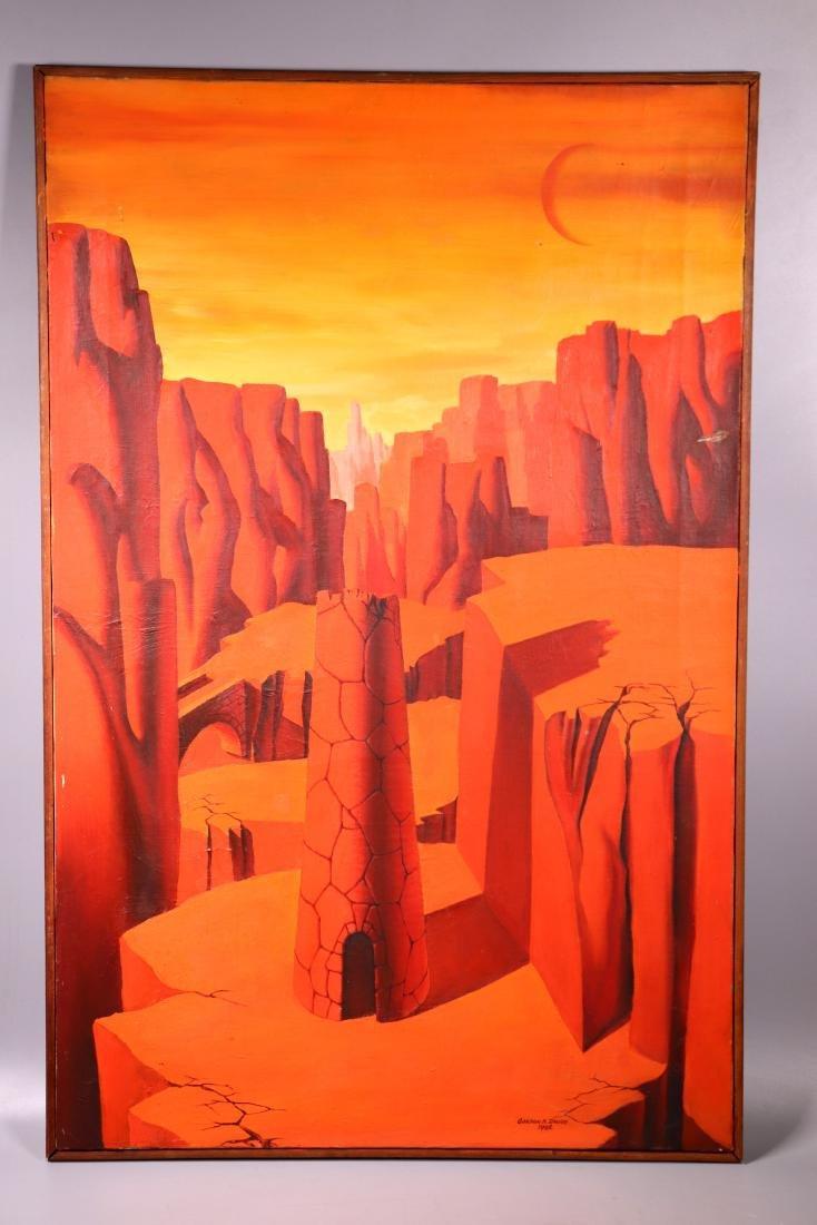 "Orange Surrealist Landscape Oil on Canvas ""Davies"""