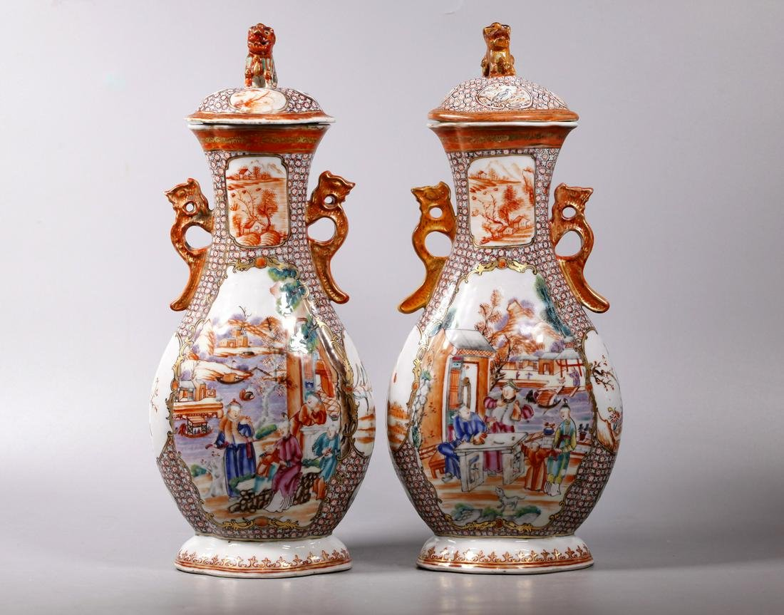 Chinese 18C Mandarin Figure Covered Porcelain Jars