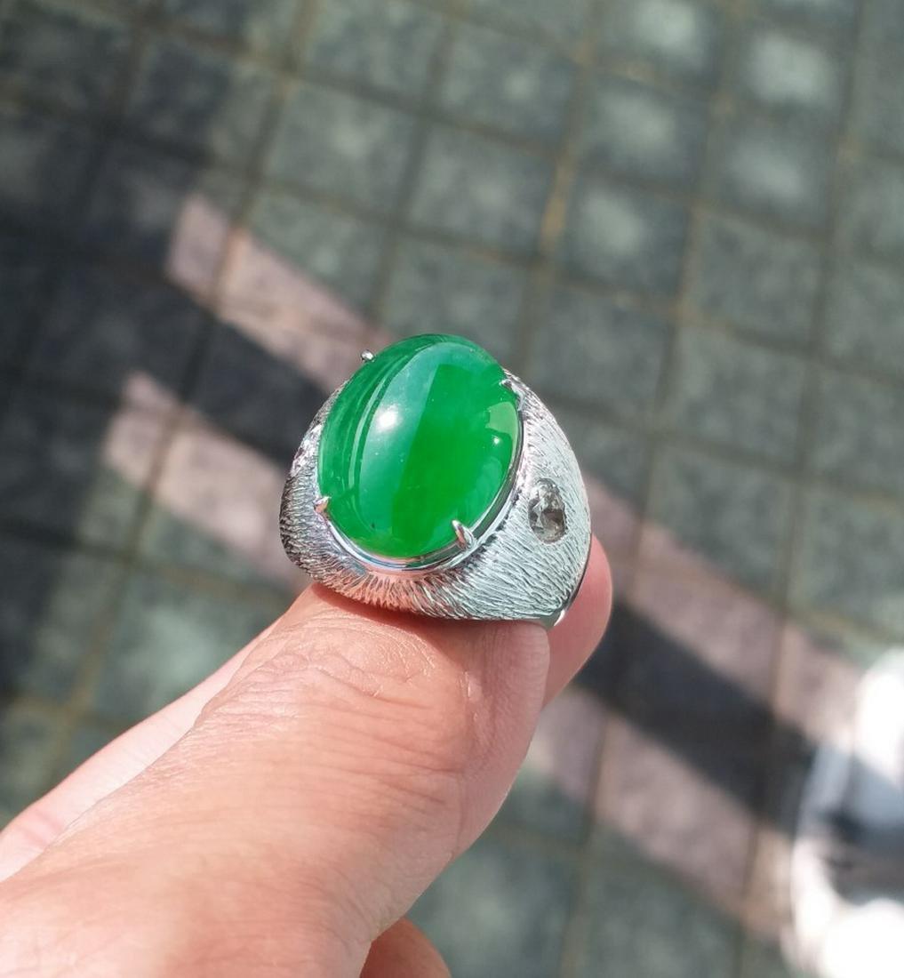 Imperial Natural Green Jadeite & Diamond Ring