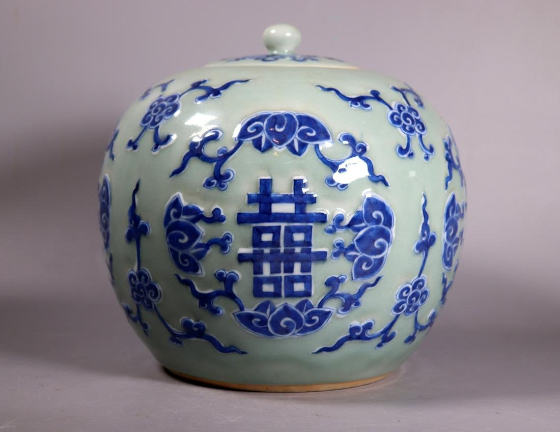 Lg Chinese 19 C Blue White Celadon Porcelain Jar