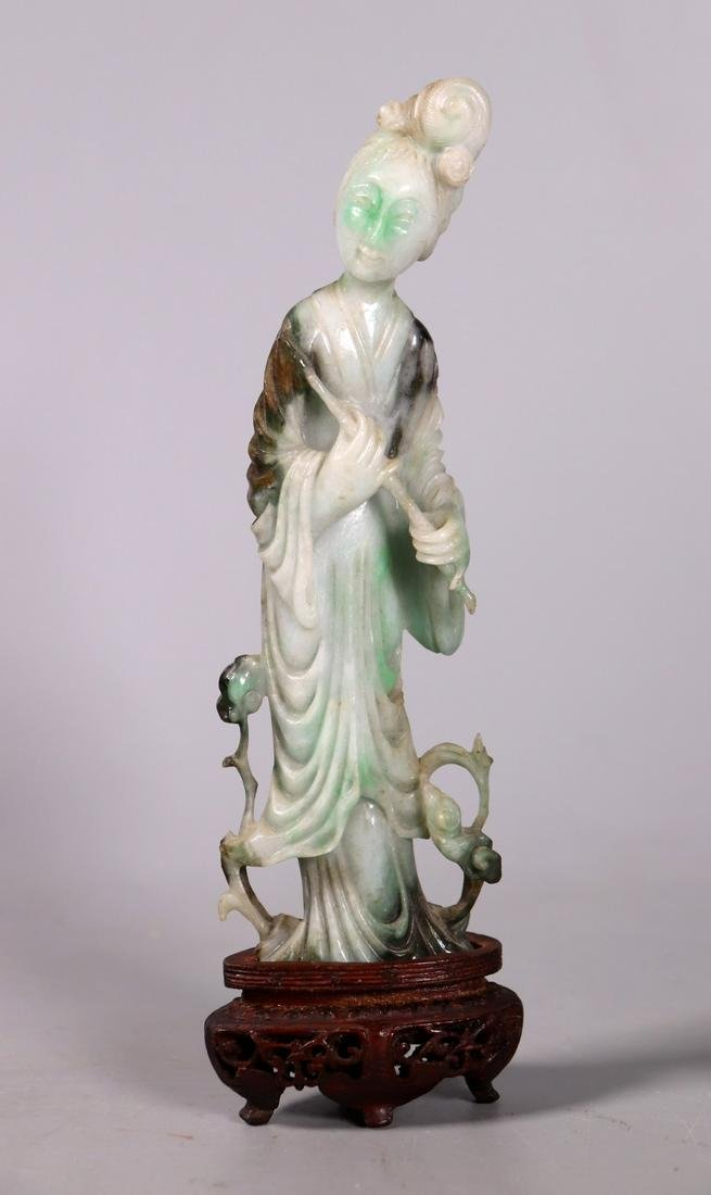 Fine Chinese Carved Jadeite Immortal Flute Lady