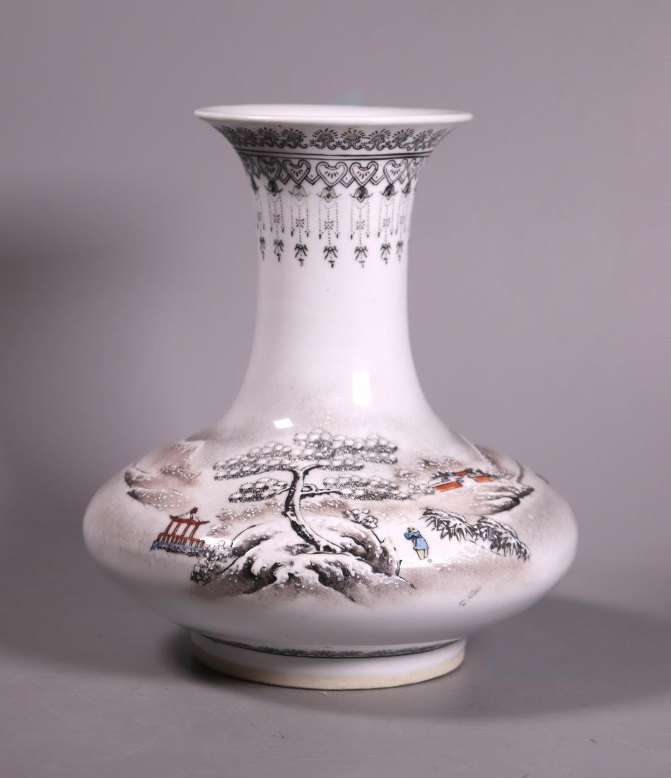 Chinese Winter Landscape Enameled Porcelain Vase